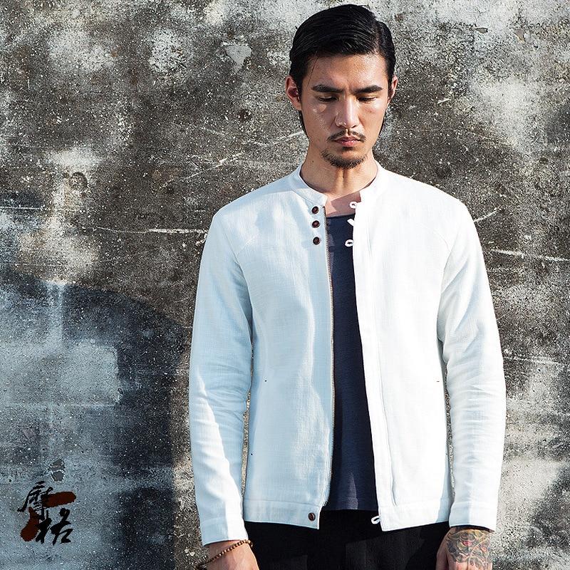 bff065269a9 Men s vintage linen cotton jacket white black spring summer thin casual  jacket men zipper solid jacket