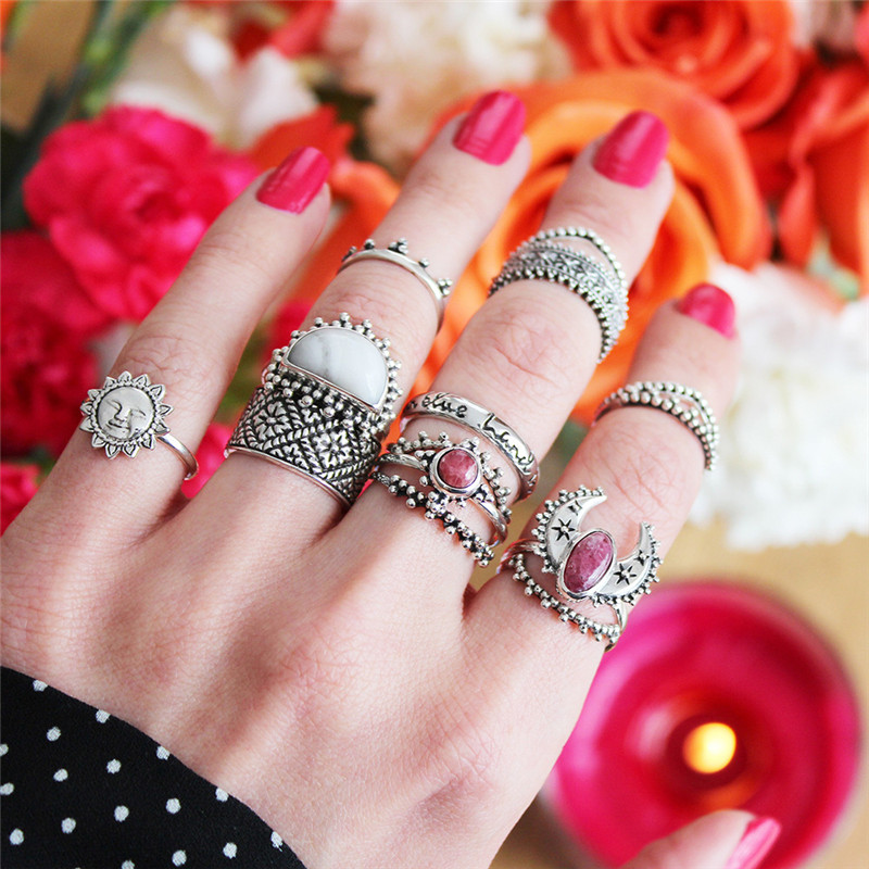 14pcs/set Vintage Bohemian Natural Stone Finger Ring Set For Women Party Accessories Antique Silver Color