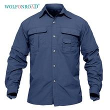 WOLFONROAD Мужская рубашка Военная быстросохнущая рубашка мужская тактическая одежда для отдыха на природе походные рубашки с длинным рукавом Сменные рубашки