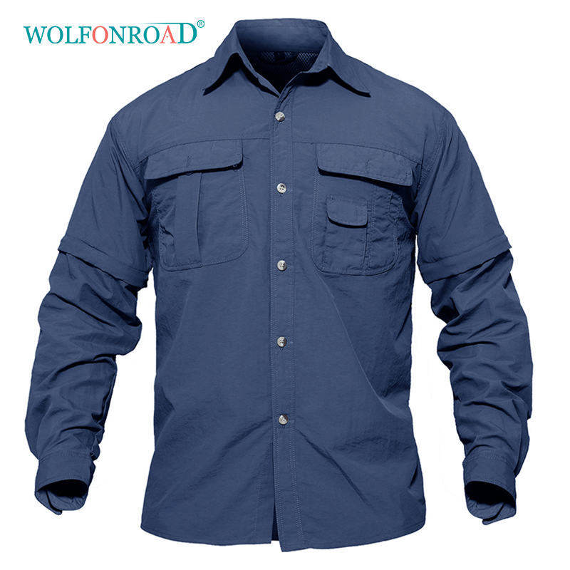 WOLFONROAD Men's Shirt Military Quick Dry Shirt Men Tactical Clothing Outdoor Camping Hiking Shirts Long Sleeve Removable Shirts