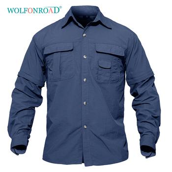 WOLFONROAD koszula męska wojskowa szybkoschnąca koszula męska odzież taktyczna Outdoor Camping piesze wycieczki koszule z długim rękawem zdejmowane koszule tanie i dobre opinie Pełna NYLON Rayon Moc suche Oddychająca Anty-pilling Anti-shrink Szybkie suche L-SMMDL-01 Camping i piesze wycieczki Pasuje prawda na wymiar weź swój normalny rozmiar