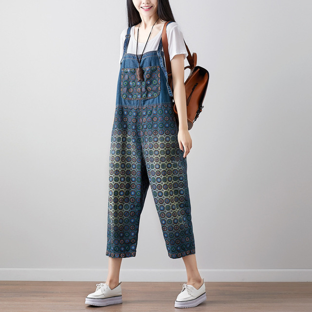 b3ea77b030a Women Print Denim Jumpsuits Plus size Boyfriend Bib Overalls Baggy Calf Length  Jeans Rompers Wide Leg