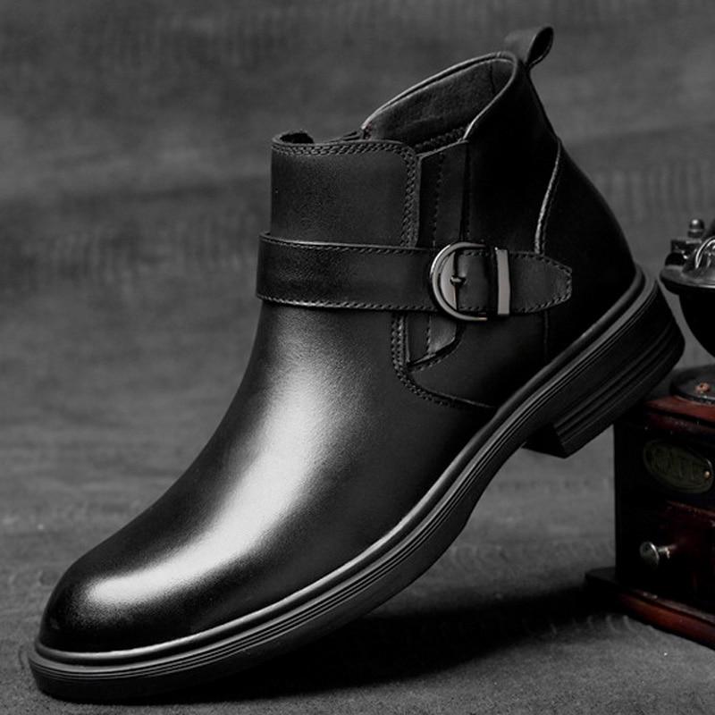 Bout En Botas Bottes Hommes Sur Caoutchouc Buvazik Hombre Nouvelles Casual Rond Automne Mode Slip Noir Cuir Homme Chaussures w0qzxU7q
