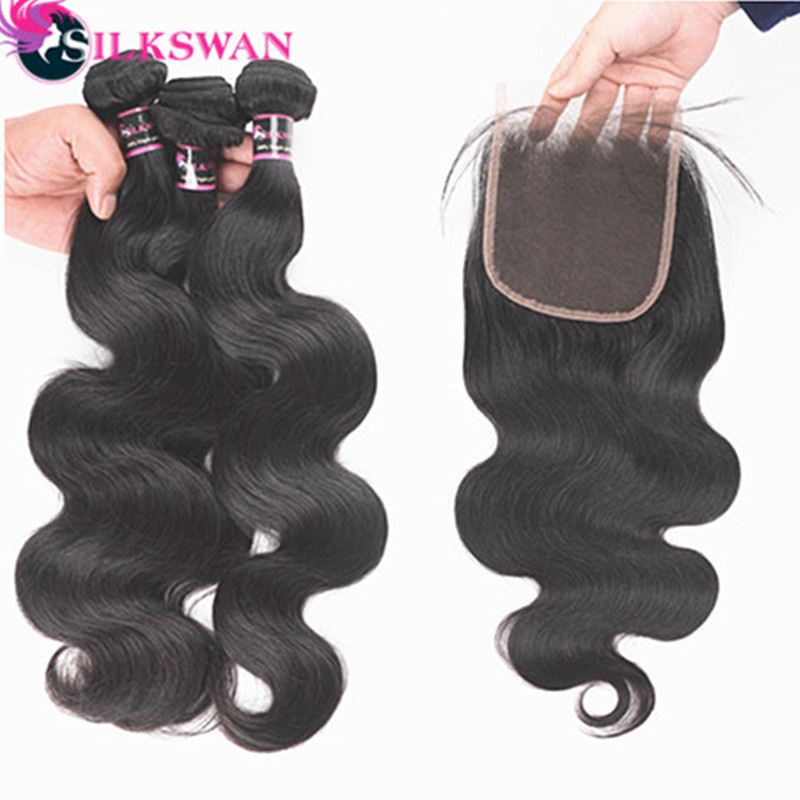 Silkswan Malaysian Body Wave Human Hair Bundles with Closure 3 Bundles Deal with Lace Closure Free