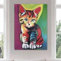 100% dipinto a mano dipinti ad olio tomcat kitten rosso brillante colorful wall art pittura a olio moder decorazione cat picture olio pittura