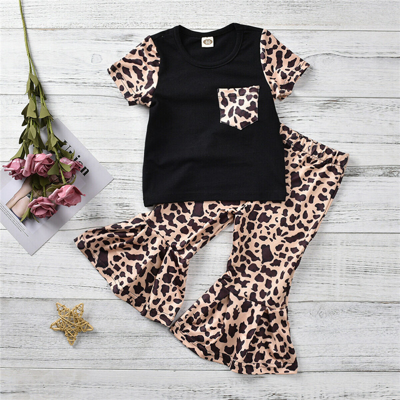 Toddler Baby Girl Kids T-shirt+Wide Leg Flared Bell Bottom Trousers Outfits Set