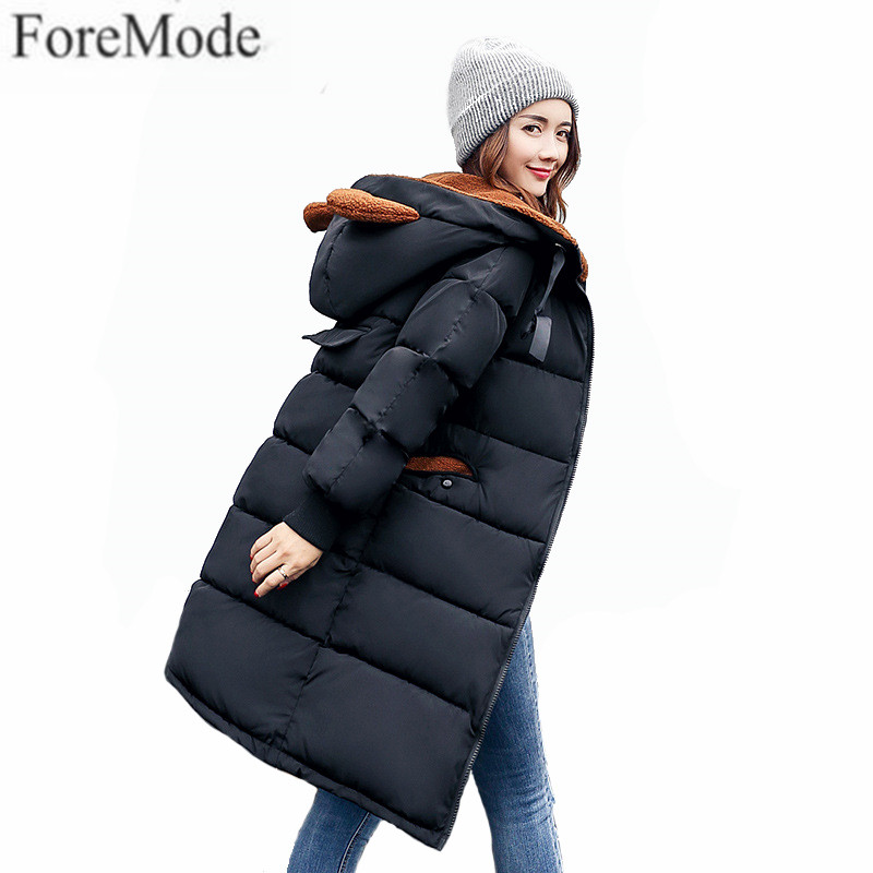 South Korean Female Lovely Long Section of Camouflage Coat Loose Hooded Feather Padded Knee Thickening Students Winter Coat 2017 korean version of the thickening of female workers in the long coat lambskin coat winter coat large size coat