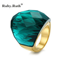 European Fashion Women Stainless Steel Ring Big Red Black Blue Crystal Ring Wedding Engagement RingS Jewelry