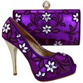 2016 Fashion Rhinestone Woman Shoes And Evening Bags Set Italy Style High Heel Shoes And Bags For Party Purple 1308-L77