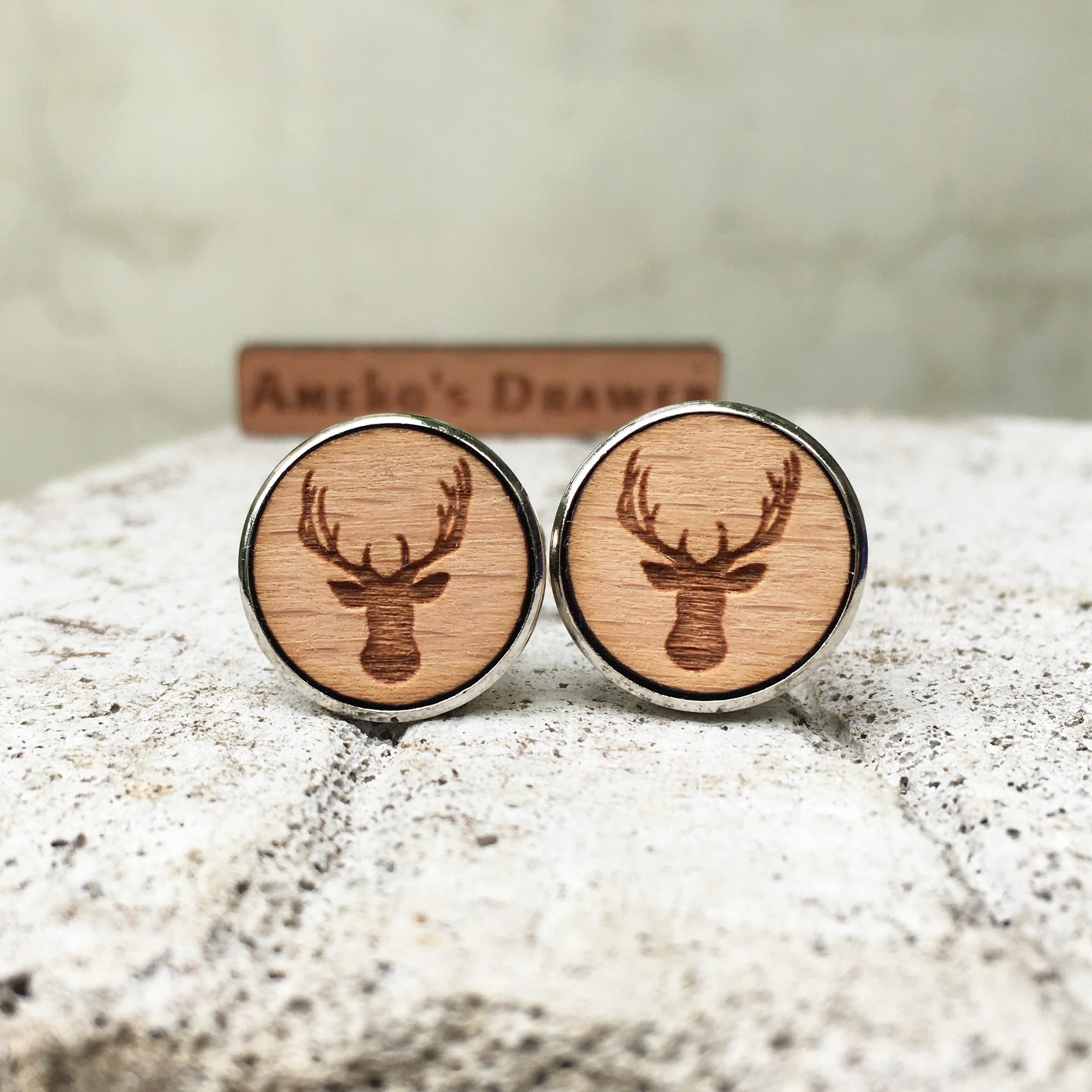 Deer Wooden Cuff Links Animal Wedding Gift Groomsmen Gift Deer Head Wood Cuff Links Deer Horn Jewelry X 1 Pair