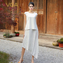 VOA 2017 Summer Fashion White Silk Dress Women Short Sleeve O neck Splicing Fake Two Peice