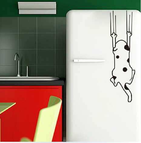 funny Cartoon Cat Pattern Refrigerator Fridge Stickers,removable Furniture Glass Decals Home Decor vinyl decal