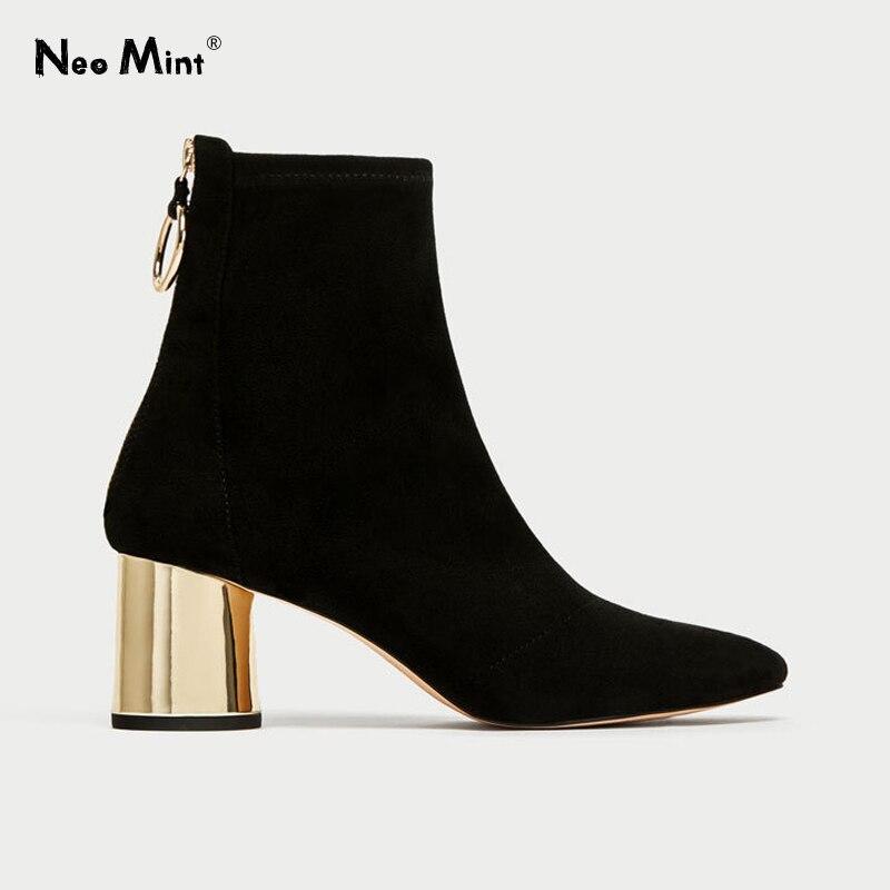 2019 outono tecido elástico meias botas anel de ouro botas femininas 6cm saltos grossos tornozelo botas para mulher camurça sapatos mulher botas
