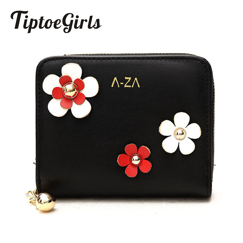 New Autumn and Winter Female Minimalist Students Korean Short Wallet Cute Retro Casual Flowers Folded Thin Wallet Mini Purse