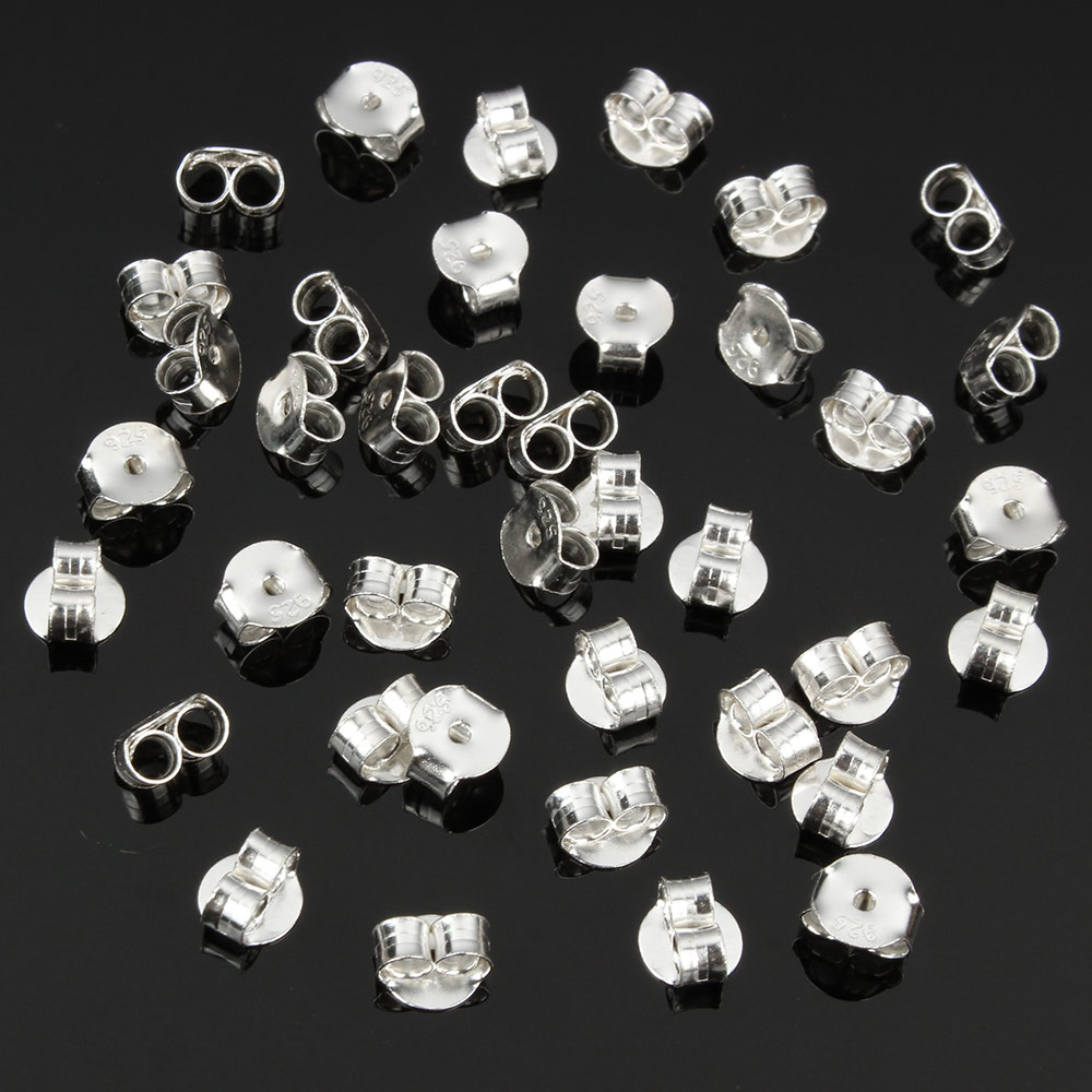 New Real 925 Sterling Silver Stud Earring Back Stoppers Jewelry Findings And Components for Women Earrings Tension Ear Post Nuts