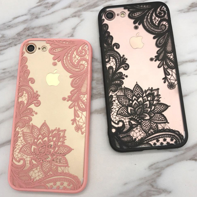 detailed look 7b4c1 5d8f7 US $1.99 |Aliexpress.com : Buy Black Sexy Lace Floral Paisley Flower  Mandala Henna Clear Case For iphone 7 7plus /6 6S plus Phone Cases Back  Cove Capa ...