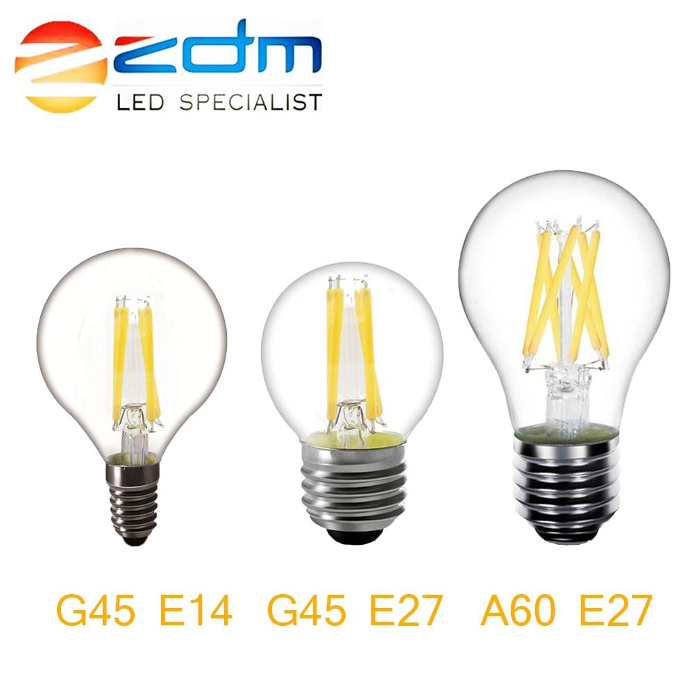 ZDM LED Bulb E27 E14 LED Lamp 220V 240V A60 G45 LED Filament Light 2W 4W 6W 8W Glass Ball Bombillas LED Edison Bulb Light 1pcs e27 e14 220v 230v 240v a60 g45 c35 2w 4w 8w warm white led filament candle bulb lamp light
