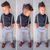 Kids Boy Long Sleeves Fashion Suits Two Piece Shirt Belt Jeans Clothing Set For Children Boys