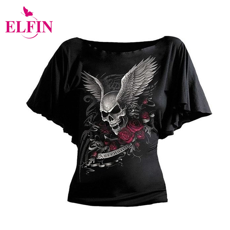 Fashion Short Sleeve Women T-Shirt Batwing Sleeve Skull Print T-Shirt S-5XL Tee Shirt Women Clothes LJ8682R