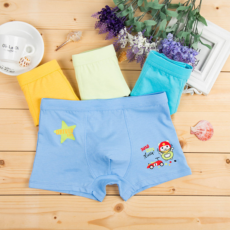4pcs/lot Cotton Boys Underwear Baby Breathable Boxer Shorts Child Waist Panties Cartoon Print Leggings Boys Baby Boxer Briefs ...