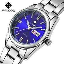 Girly WWOOR 2016 Nueva Marca A Prueba de agua Banda de Acero Inoxidable de Negocios Relojes de Aleación De Las Mujeres Del Reloj Del Calendario Luminoso Reloj Mujer