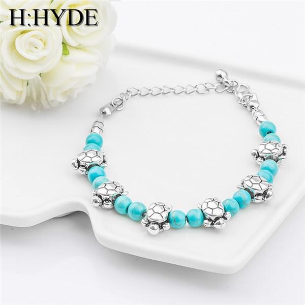 H: HYDE Moda Boemia alla moda brillante carino tartaruga di Pietra Naturale Perl
