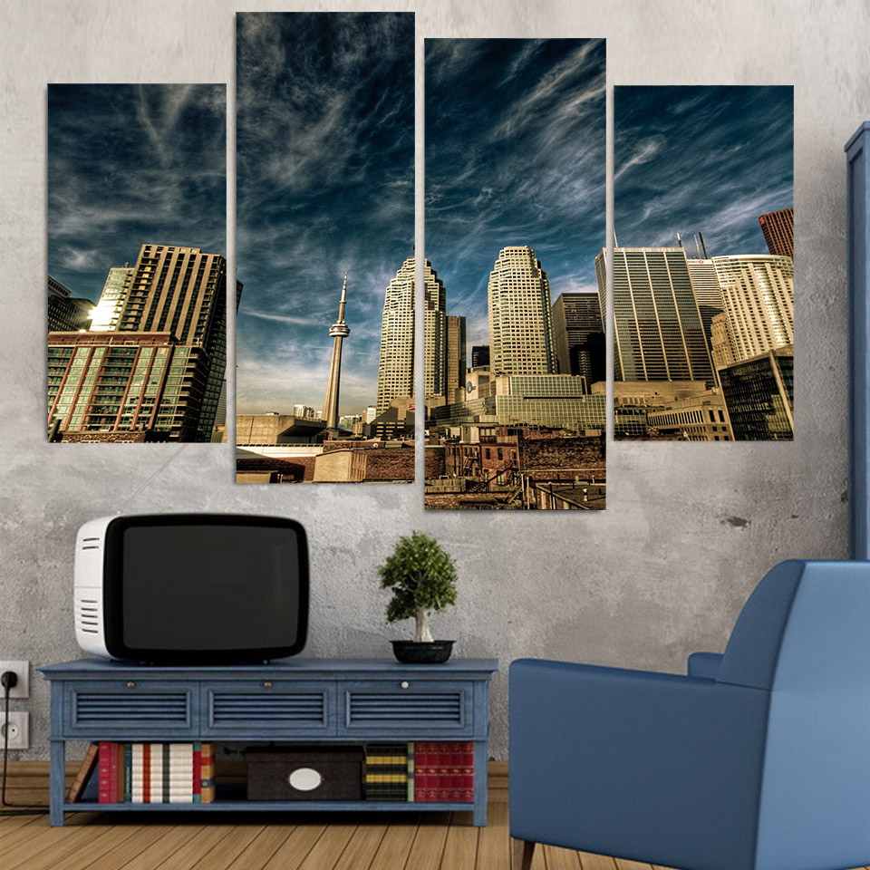 Canvas Painting 4 Piece Canvas Art Toronto Morning Cloudy Hd Printed Home Decor Wall Art Poster