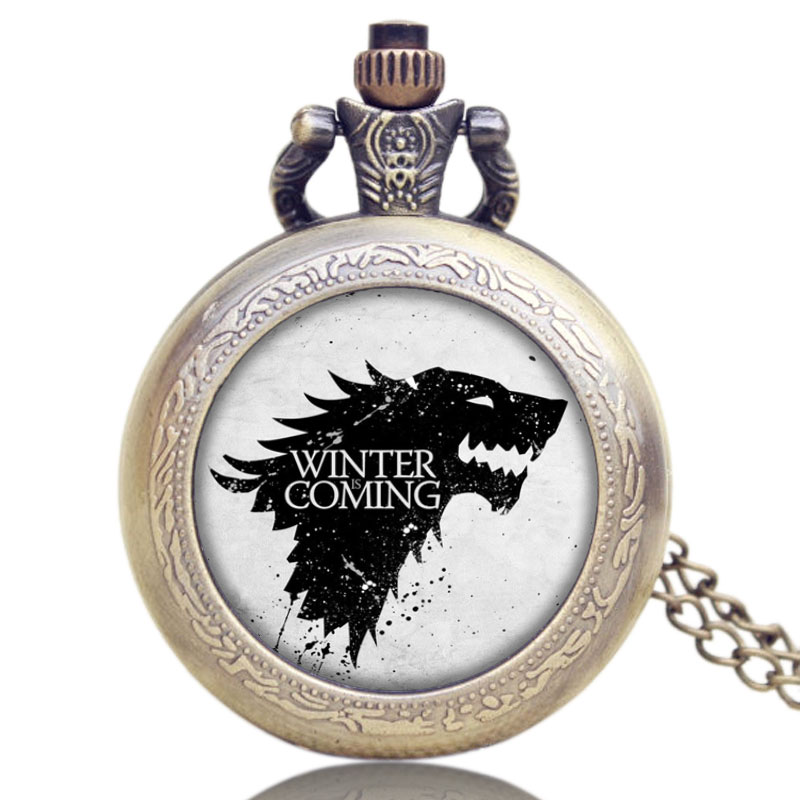 Hot American Drama Game of Thrones House Stark Theme Winter Is Coming Design Glass Dome Pocket WatchHot American Drama Game of Thrones House Stark Theme Winter Is Coming Design Glass Dome Pocket Watch