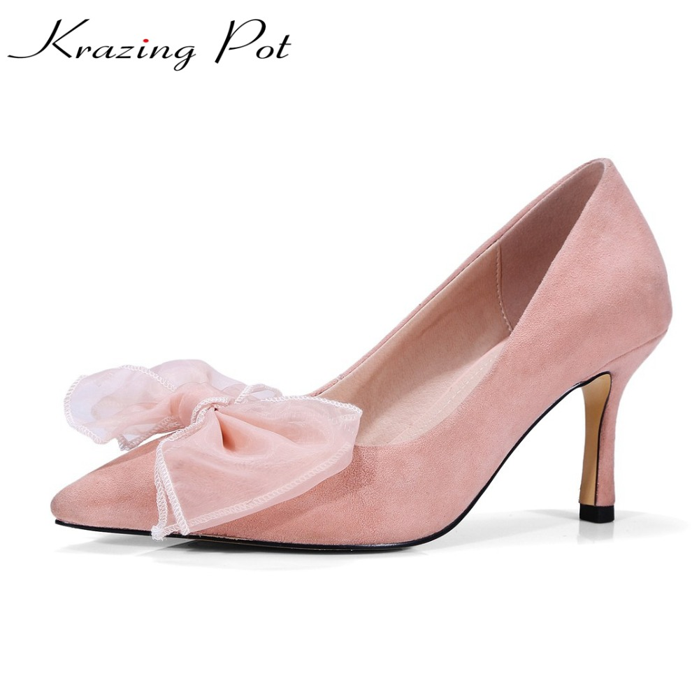 KRAZING POT sheep suede thin high heels stiletto solid shallow butterfly-knot pumps women pointed toe wedding party shoes L7f1 2017 spring women retro pumps solid slip on sweet butterfly knot round toe med square thick heels shallow female shoes plus size