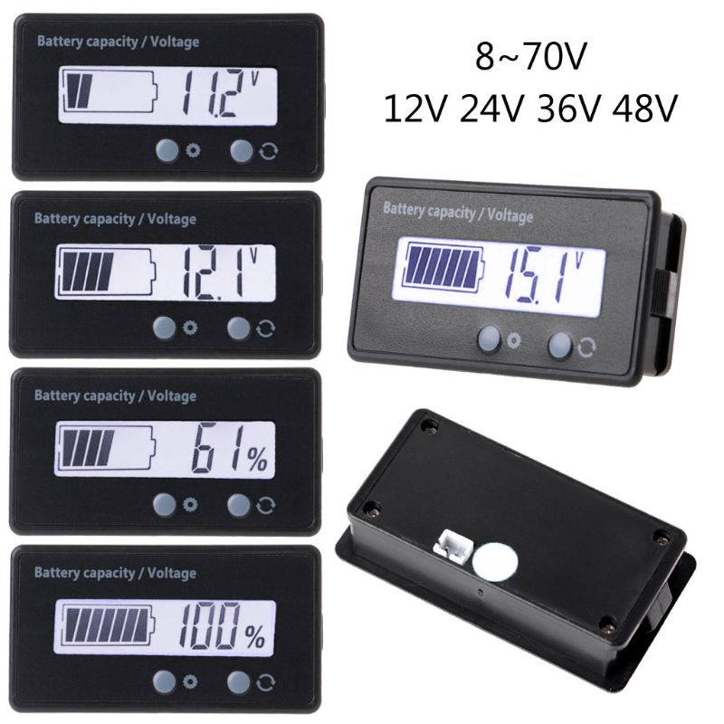 12V/24V/36V/48V LCD Acid Lead Lithium Battery Capacity Indicator Voltmeter Voltage Electric Motorcycle Scooter Battery Testers T