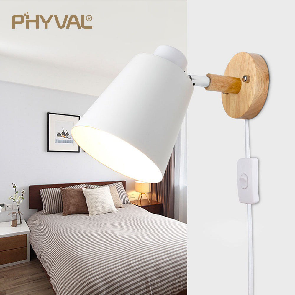 botao criativo cabeceira luz parede eua ue plug 10cm base madeira 04