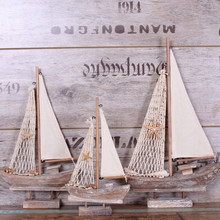Sailing Model Decoration Handmade Wooden Boat Retro Home Craft Arrangement i Mediterranean Sea