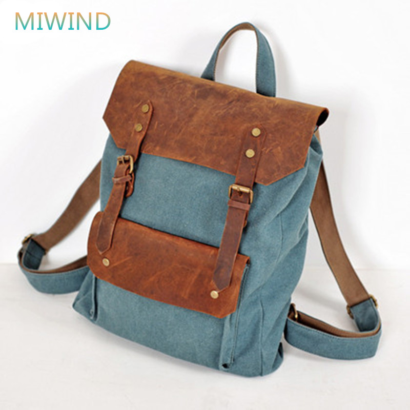 MIWIND Vintage Genuine Leather Bag Cotton Canvas Backpack Preppy Style Men and Women Unisex Backpack Casual Schoolbag CB021