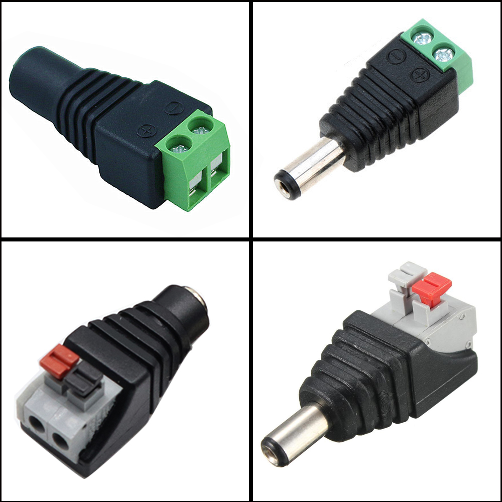Free Shipping 1~100pcs DC Connector For LED Strip Free Welding LED Strip Adapter Connector Male Or Female Connector