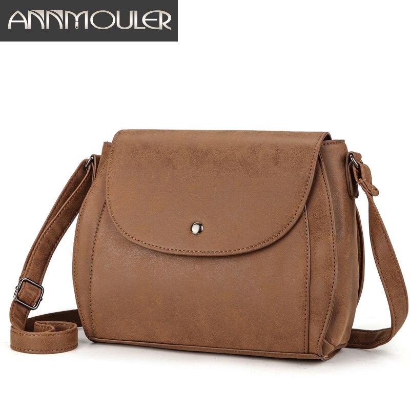 Annmouler Vintage Women Shoulder Bag 4 Colors High Quality Brown Crossbody Messenger Bag Pu Leather Satchel Messenger Bag