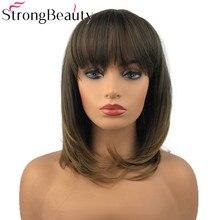 Starke Schönheit Synthetische Natürliche Gerade Perücken Mittlerer Länge Perücken mit Ordentlich Bang Capless Frauen Haar