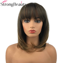 Strong Beauty Synthetic Natural Straight Wigs Medium Length Wigs with Neat Bang Capless Women Hair