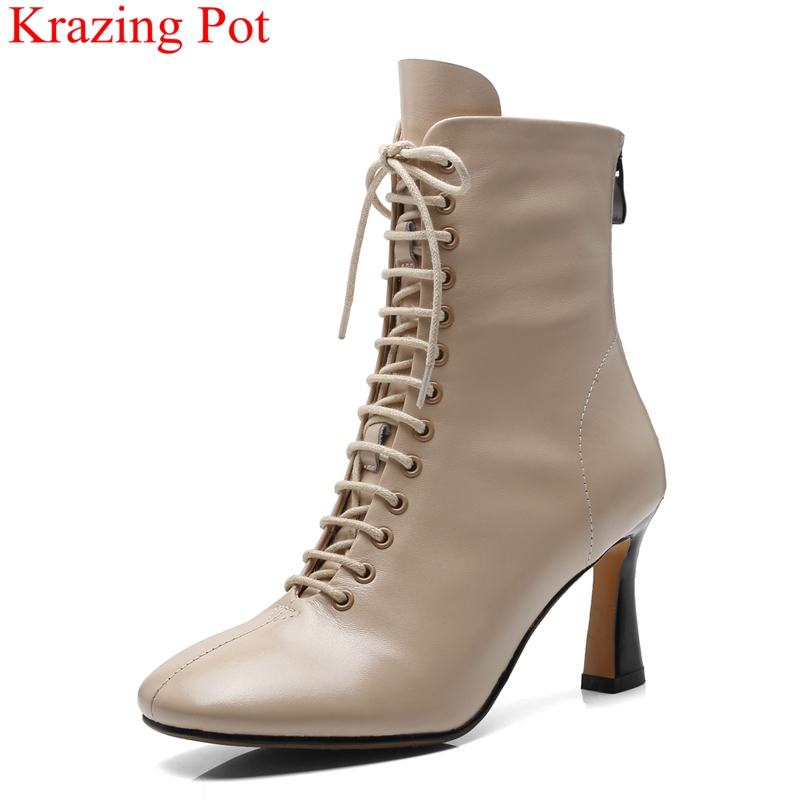 2018 superstar genuine leather zipper lace up high heels women ankle boots runway strange style fashion autumn winter shoes L33 bs93 l33