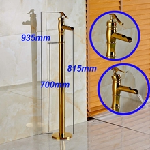 Floor Mount Bathroom Tub Faucet Tub Filler Free Standing Tub Shower Faucet Golded