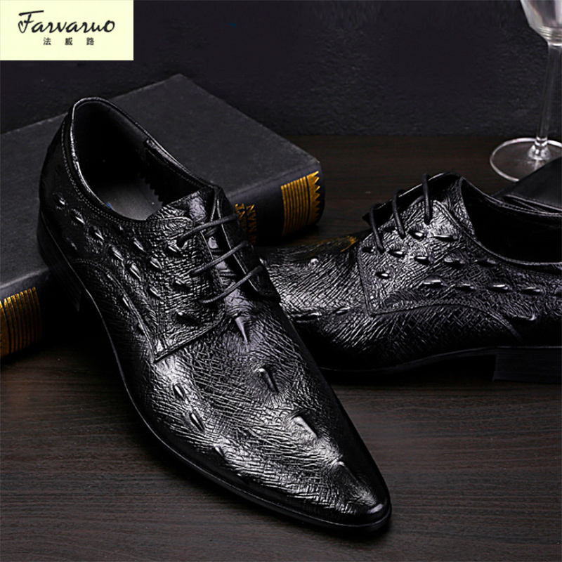 Italian Designer Black Brown Brogue Shoes Genuine Leather Lace Up Men Formal Dress Oxfords Party Office Wedding 2017 new italian modern men formal oxford shoes genuine leather crocodile print brown lace up dress men s footwear 1815 810