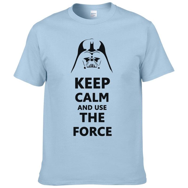2016 Nieuwe Star Wars Darth Vader Afdrukken T-shirt Mannen Houden Kalm En Wekt Gebruik De Kracht Emoji Tshirt Homme Grappige T-shirts Katoen
