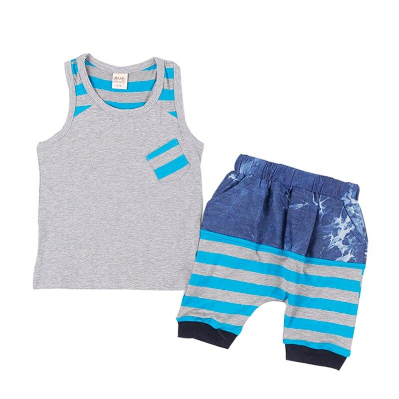 High Quality 2019 new children's summer cotton sports leisure suit. 3-6Y Boys Round neck vest + shorts.
