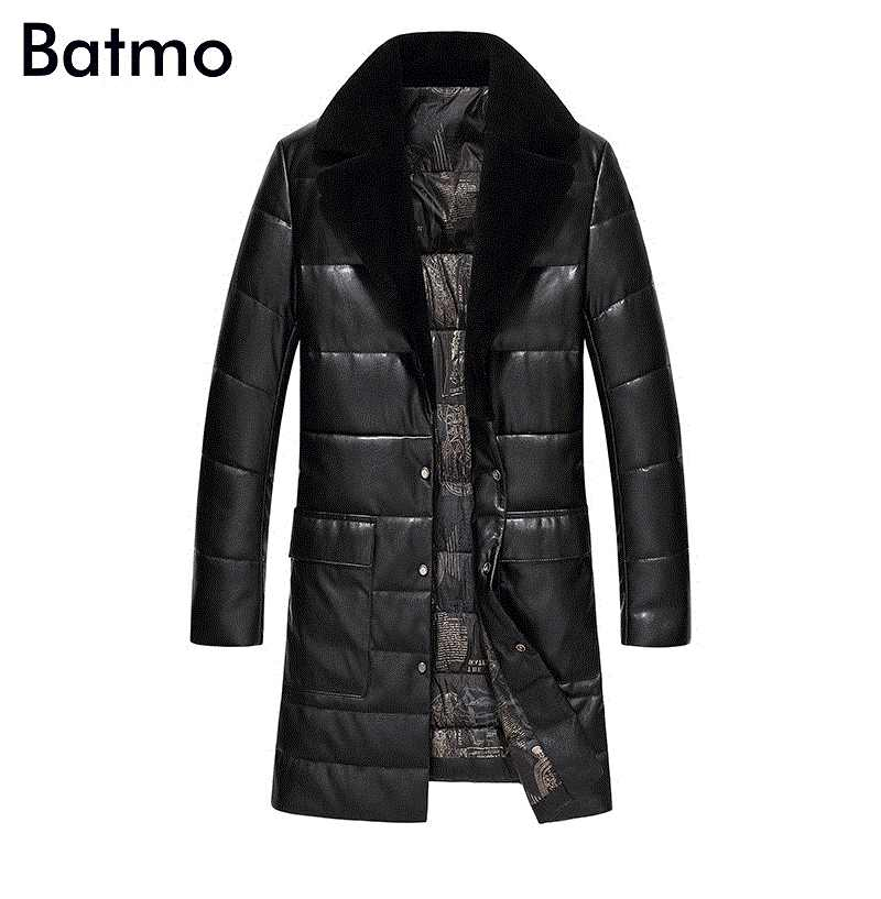 Batmo 2018 new arrival winter high quality PU 95% white duck down long jacket men,warm trench coat men  1712
