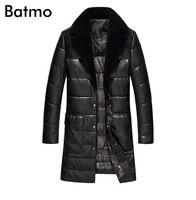 Batmo 2017 новое поступление Зима Высокое качество PU 95% белая утка вниз длинная куртка мужчин, теплый Тренч пальто для мужчин 1712