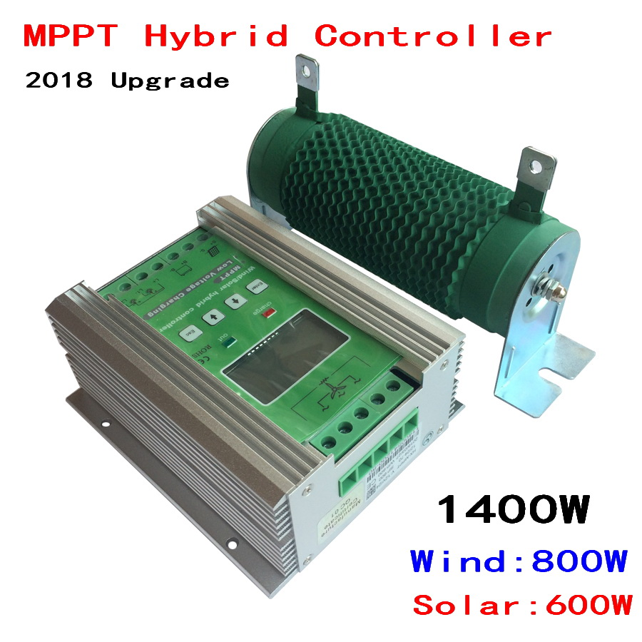 1400W Boost MPPT Wind Solar Hybrid Controller 12V 24V for 800W+600W Solar with Anti-charging and Battery Reverse Protection wind and solar hybrid controller 600w with lcd display charge controller for 600w wind turbine and 300w solar panel 12v 24v