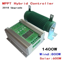 1400W Boost MPPT Wind Solar Hybrid Controller 12V 24V for 800W+600W Solar with Anti charging and Battery Reverse Protection