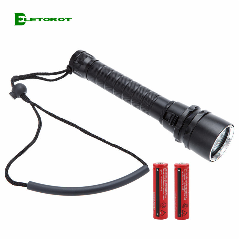Eletorot XML-T6  LED Diving Tactical Flashlight 5000LM Ultra Bright Underwater Pool Torch Light Used 2*18650 Battery Flashlight eletorot high power led flashlight 3800lm cree xml l2 waterproof 18650 camping bicycle flash light torch 5 modes ultra bright
