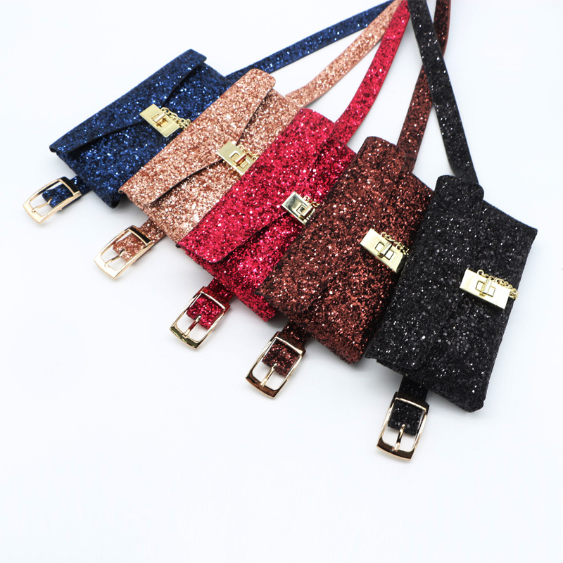Sequin fanny pack for women waist bag pu leather belt bag purse fashion money belt ladies fashion shoulder bag female sac banane in Waist Packs from Luggage Bags