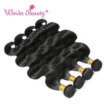 Brazilian Body Wave Bundles Wonder Beauty Brazilian Hair Weave Bundles 4Pcs Black 8-30 Inches 100% Human Hair Extension Non Remy стоимость