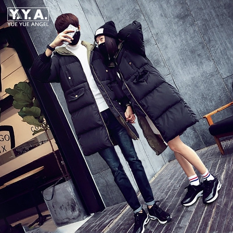 Korean Mens Long Coat Oversize Female Down Jacket Thicken Cotton Winter Warm Sobretudo Masculino Fashion Lovers Outerwear Cloth top ec mens winter thicken warm smalltand collar down jacket coat